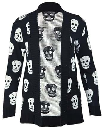 De mujer para nuevo jersey diseño de calaveras diseño de punto grueso Open de punto de manga larga confeccionar camisetas Boyfriend chaqueta de mujer talla - 10 8