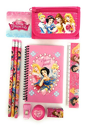 Pink - Disney Princess Wallet Trifold FREE Princess Stationary Set - Kids Girls Gift - Princess Stationary