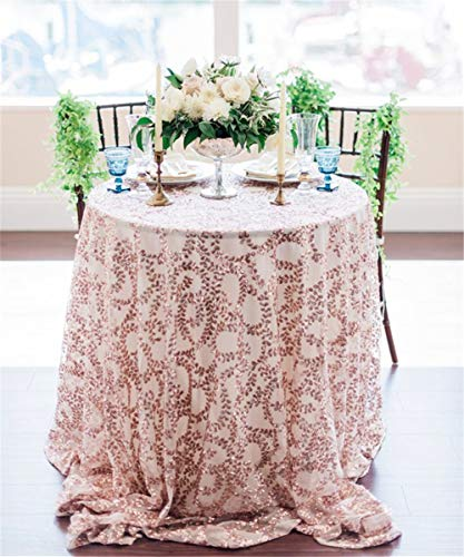 QueenDream Fabulous Rose Gold Vine Sequin Tablecloth Embroidered Table Overlay Rose Gold Floral Sequin Fabric for Party Cake Dessert Receptions Exhibition Events,108