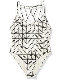 Women's Rough & Tumble Abstract Geometric Lattice Beaded Back One Piece Swimsuit