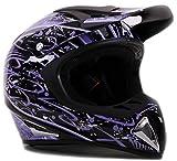 purple riding gear - Adult Off Road Helmet DOT Dirt Bike Motocross ATV Motorcycle Offroad Black Purple Splatter ( Large )