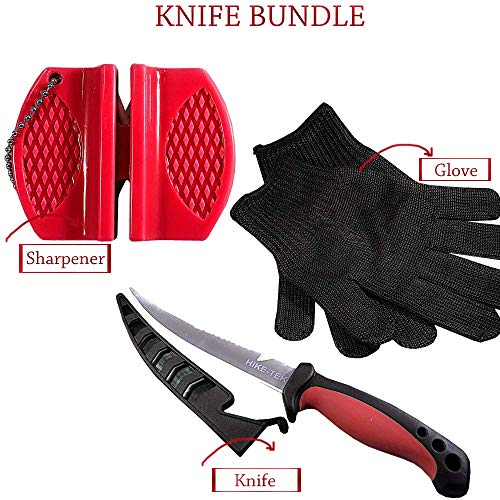 (Hike-Tek Premium 6.5 Inch Fillet Knife with Sharpener and Anti-Cut Gloves Included, Stainless Steel Blade and Elegant Gift Box)