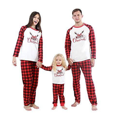 Gyrategirl Family Matching Christmas Pyjamas, Classic Red Plaid Printed Xmas PJs Sets for Women Men Girls Boys