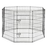 SmithBuilt Crates Dog Playpen Folding Yard with Door and Carry Bag 8 Panel Metal Wire Popup Portable Fence, 48 Inch High - Black