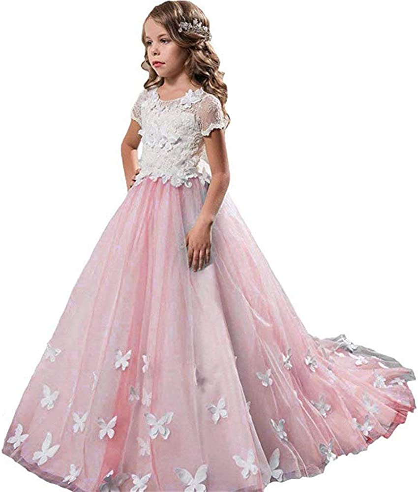 Cde Fancy Flower Girl Dress For Wedding Pageant Ball Prom Dresses For Girls 2 12 Year Old Amazon Co Uk Clothing