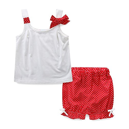 Dot Short Set (Mud Kingdom Little Girls Clothes Sets Summer White Tank Top and Dot Shorts 4T Red)
