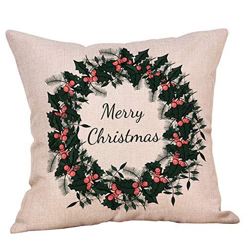 AMSKY Chrismas Pillow Case Covers with Zipper Decorative,Christmas Pillow Case Glitter Cotton Linen Sofa Throw Cushion Cover Home Decor,Furniture -