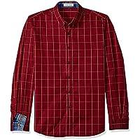 b94f1d62 LOCALMODE Men's 100% Cotton Long Sleeve Plaid Slim Fit Button Down Dress  Shirt