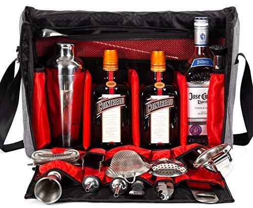 Waterproof Bartender Travel Bag-16 Inch Bar Wine Carrier Set Bag for Travelling Camping-Grey