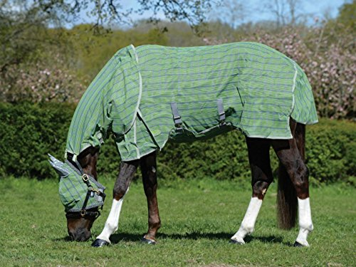 Weatherbeeta Dura-Mesh Detach-A-Neck Fly Sheet, Blue/Grey/Green Plaid 78'' by Weatherbeeta (Image #1)