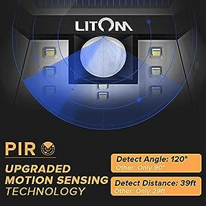 Litom Super Bright 10 LED Solar Light Motion Sensor Light Outdoor Wall Light Wide Lighting Range with LEDs Both Sides for Door Garden Path Patio-2 Pack