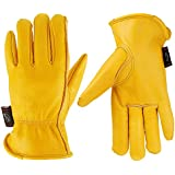 KIM YUAN Leather Work Gloves for Gardening/Cutting/Construction/Farm/Motorcycle, Men & Women, with Elastic Wrist, Medium