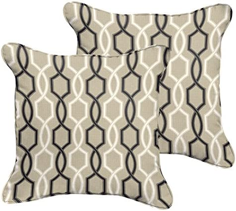 Mozaic Company AZPS7599 Indoor Outdoor Square Pillow with Corded Edges, Set of 2, 16 inches, Tan, Black White