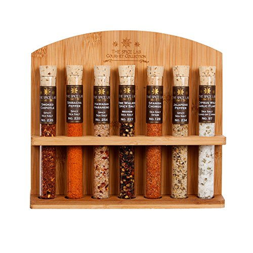 The Spice Lab Chili Head Salt Collection - A collection of 7 Different Spicy Chili Tasting Salts - Taste the World of Salt ()