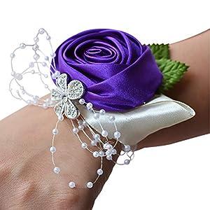 YINGYUE Bridesmaid Sisters Wrist Corsage Flowers Ribbon Rhinestone Wedding Supplies 90