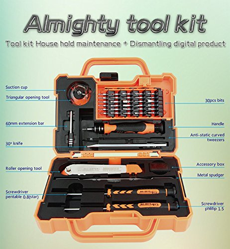 45 in 1 Magnetic Repair Tool Kit Screwdriver set Hardware Screwdriver Kit with Portable Box for iPhone/ Plus/ Game Console/ Tablet/ PC/ MacBook/ iPad and Other Electronics by Jakemy (Image #2)