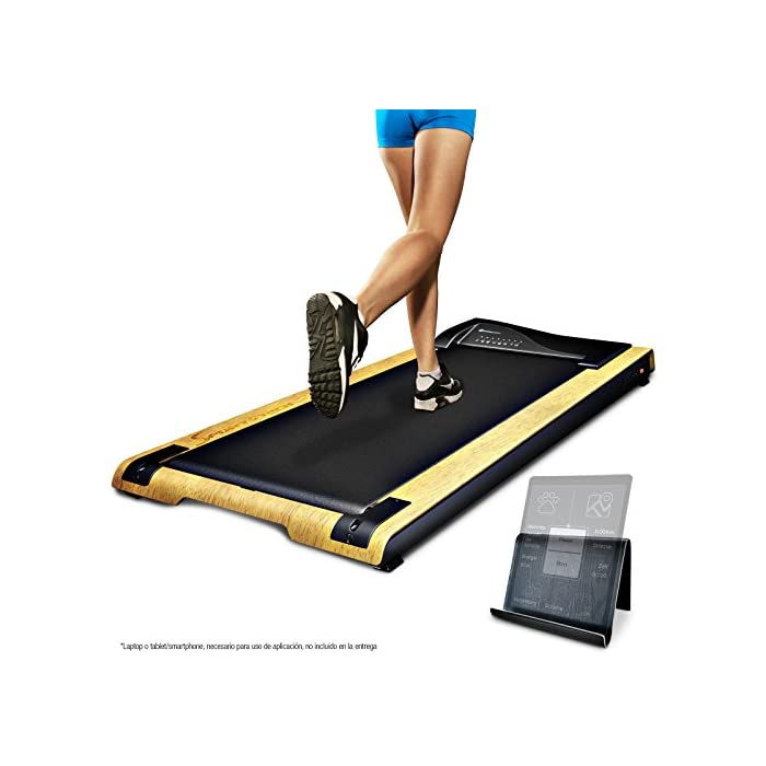 51omUSw5ATL REVOLUCIÓN: Use la cinta de correr DFT200 para un paseo relajante mientras trabaja o como una cinta de correr profesional. Velocidad de hasta 7.1 km por hora. Entrenar y cambiar tu rutina SALUD: Estar mucho tiempo sentado es perjudicial para la salud. Moverse mientras trabaja ofrece muchas ventajas, cómo pérdida de peso, prevención de enfermedades y mejor capacidad cardiovascular. TRABAJAR MEJOR: Los movimientos regulares durante el trabajo estimulan el flujo de sangre a través del cerebro y la absorción de oxígeno. Aumenta la concentración y disminuye el estrés Cinta de correr DESKFIT DFT200