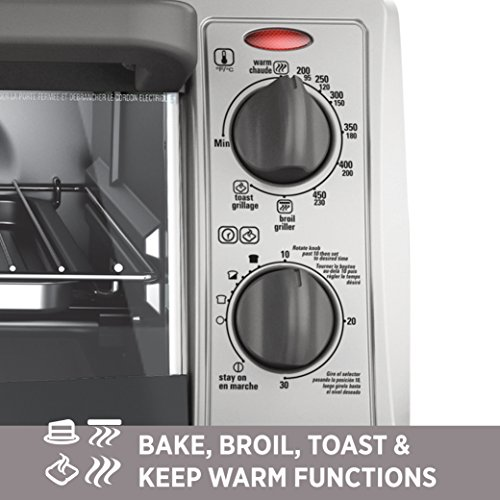 BLACK+DECKER 4-Slice Countertop Toaster Oven, Stainless steel Silver TO1322SBD by BLACK+DECKER (Image #5)