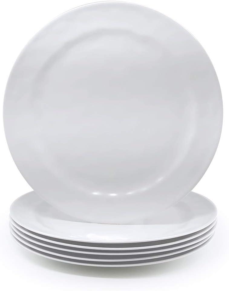 Melamine Plates set of 6, 10-inch 100% Melamine Dinner Plates for Everyday Use, Break-resistant and Lightweight, White Color