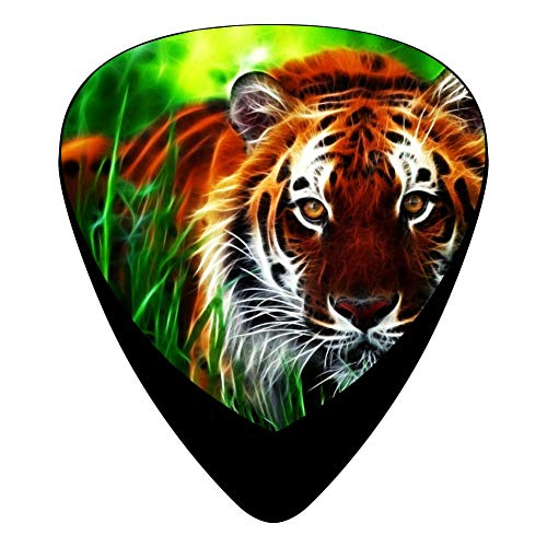 (Tiger Fractal Face Eyes Pattern Guitar Picks Celluloid 12 Pack Shape For Acoustic Guitar Mandolin Electric Guitar And Bass)