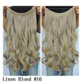 """Secret Halo Hair Extensions Flip in Curly Wavy Hair Extension Synthetic Women Hairpieces 20"""" (Linen Blonde #16)"""