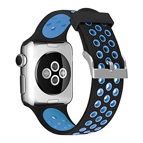 (SKYLET Sport Band Compatible with Apple Watch 44mm 38mm 42mm 40mm, Soft Silicone Replacement Breathable Wristband Compatible with Apple iWatch Series 4 3 2 1 with Metal Clasp Men Women (No Tracker))