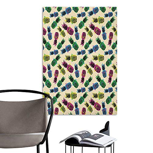 (Alexandear Canvas Print Wall Art Indie Retro 80s Summer Pattern Tropical Fruit Pineapple Vintage Glasses in Vibrant Colors Multicolor Office Studio Corridor Aisle W8 x H10)