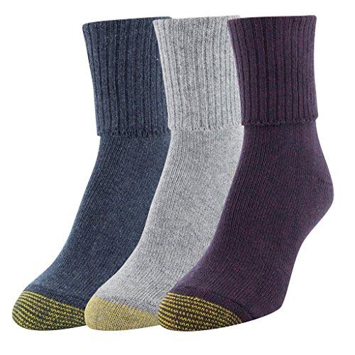 Gold Toe Women's Bermuda Socks, 3 Pairs, Cabernet/Grey Navy Marl, Shoe Size: 6-9