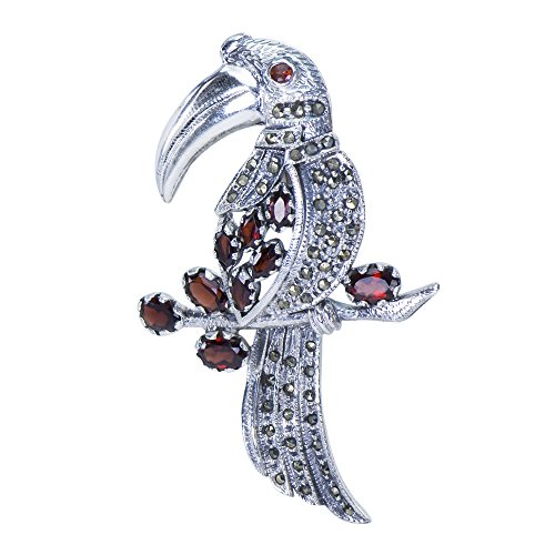 Caratera Fine Jewelry Adorable Toucan Natural Garnet & Marcasite 925 Sterling Silver Brooch Pin Clip