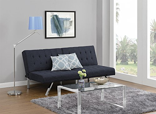 Fabric Upholstered Queen Sleeper (DHP Emily Futon Couch Bed, Modern Sofa Design Includes Sturdy Chrome Legs and Rich Linen Upholstery, Navy)
