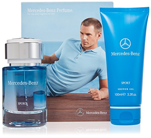 Mercedes Benz Sport Eau de Toilette and Shower Gel 2 Piece Gift Set for Men Woody Spicy Scent EDT Spray 2.5 oz Shower Gel – 3.3 oz