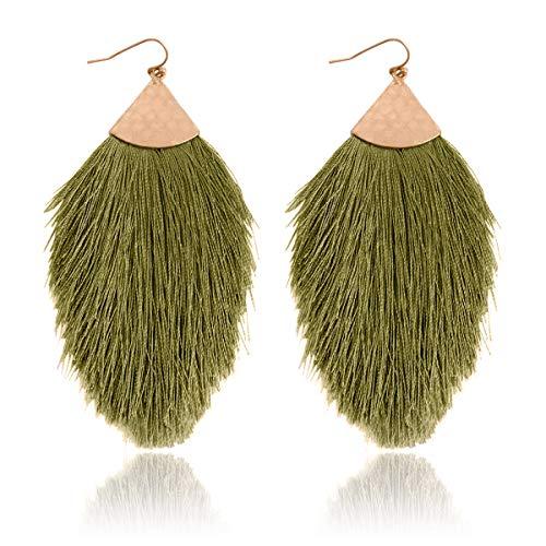 RIAH FASHION Bohemian Silky Thread Fan Tassel Statement Drop Earrings - Feather Shape Strand Fringe Lightweight Hook Dangles (Petal Tassel - Olive Green)