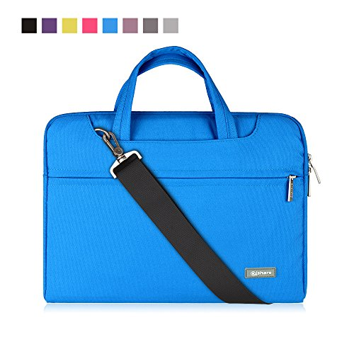 Qishare 10 11 11.6 inch Laptop Case, Laptop Shoulder Bag, Multi-Functional Notebook Sleeve, Carrying Case with Strap for Chromebook MacBook HP Stream Samsung Acer Asus Dell Lenovo (11.6-12'', Blue)