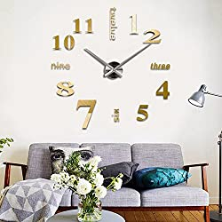 Adarl 3D Mirror Surface Sticker Modern DIY Large Wall Clock Home Room Decor