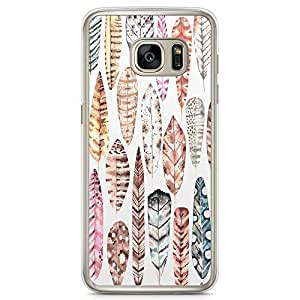 Samsung Galaxy S7 Transparent Edge Phone Case Boho Phone Case Boho Pattern Leafs And Arrow Samsung S7 Cover with Transparent Frame