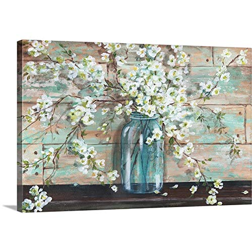 Blossoms in Mason Jar Canvas Wall Art Print, 36
