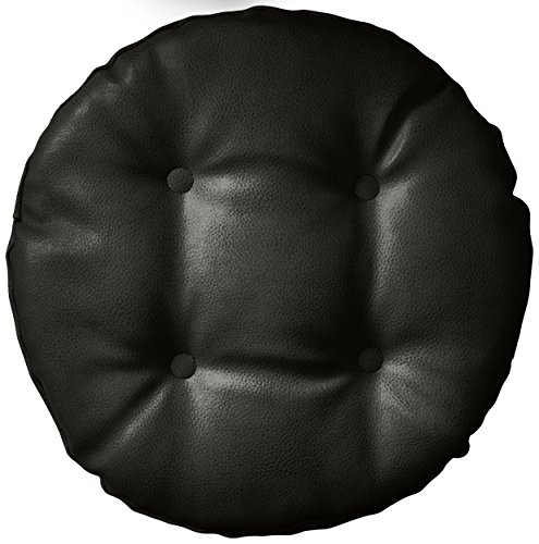 "Klear Vu Gripper Non-Slip Faux Leather Tufted Round Barstool Padded Seat Cushion, 14"" x 14"", Black"