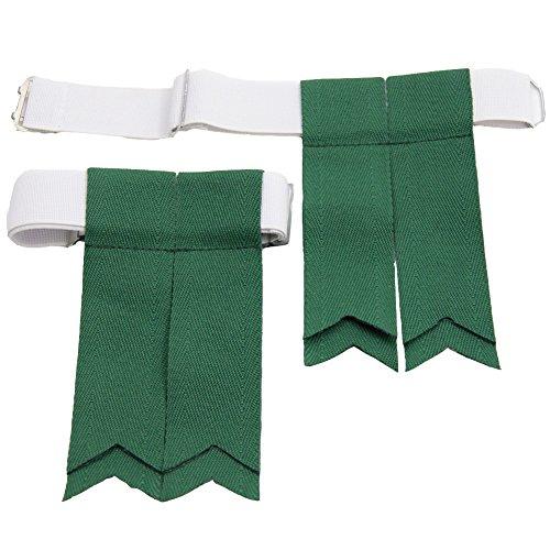 (USA Kilts Standard Ancient Lovat Green Kilt Flashes with Adjustable Elastic Garter)