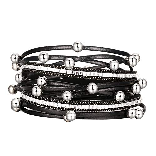 Fesciory Women Multi-Layer Leather Wrap Bracelet Handmade Wristband Braided Rope Cuff Bangle with Magnetic Buckle Jewelry(Black Beads)