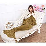 MasiMiele Warm&Soft Suitable For All Seasons Knitted Mermaid Blanket for Adults&Kids,Sofa Quilt Living room blanket 195cmX90cm(76.8