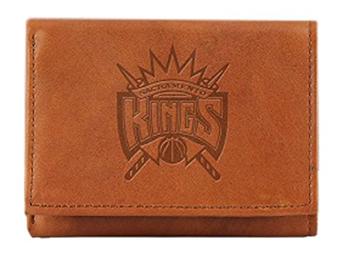 NBA Sacramento Kings Embossed Genuine Leather Trifold Wallet (Sacramento Nba Kings Leather)