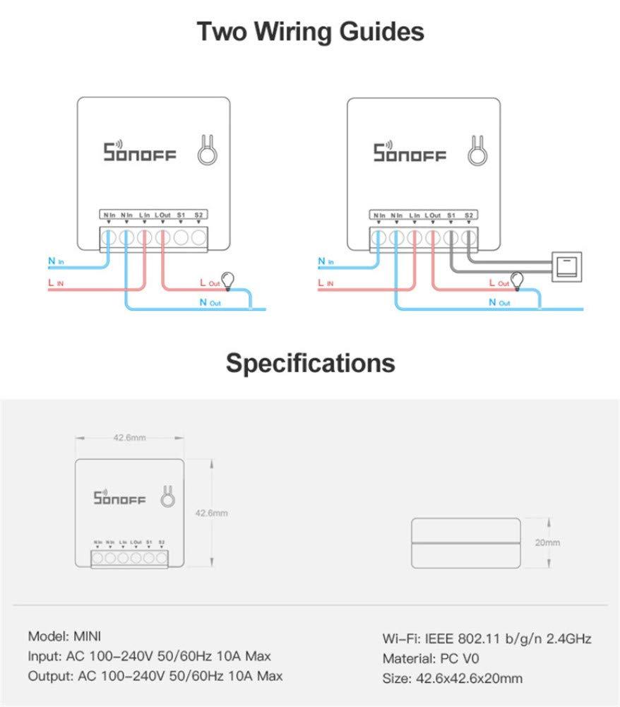 commutateur WLAN Commutateur WiFi mural /à la maison MINI DIY Home avec iPhone pour Android IXVXI Commutateur intelligent WiFi SONOFF Mini-commutateur 2 voies