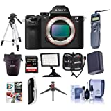 Sony Alpha a7II Mirrorless Digital Camera, 24.3MP,- Bundle With Camera Holster Case, 64GB Class 10 SDHC Card, Spare Battery, New Leaf 3 Year (Drops Spills) warranty, Full Size Tripod, and More
