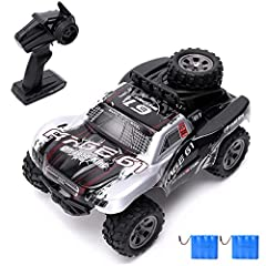 RC Truck Specifications:  Scale: 1:18  Size: 19.30 x 20.10x24.01 inches  Drive System: 2WD  Radio system: 2.4Ghz strong anti-jamming capability  Speed: 20km/h  Control Distance: about 80 meters  Charging Time: 120 mins  Operating Time: about ...