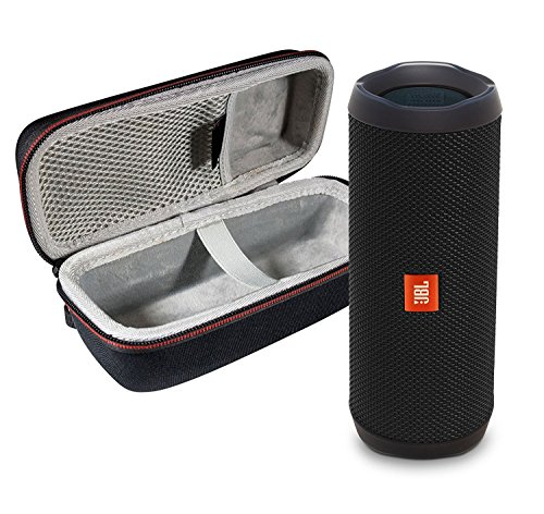 (JBL Flip 4 Portable Bluetooth Wireless Speaker Bundle with Protective Travel Case - Black)