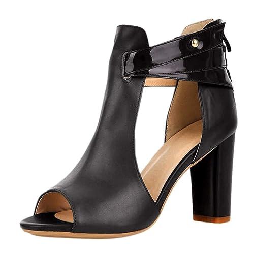 2730e2d6 Sandalia Tacon Mujer 2019 Verano Kanlin1986 Zapatos de Baile Latino Mujer  Tacón Ancho Botines Chelsea Botas Zapatos de Tacón Zapatos de Boca de  Pescado: ...