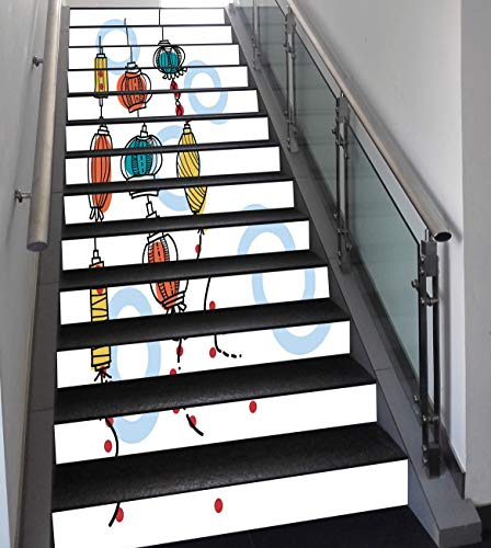 Stair Stickers Wall Stickers,13 PCS Self-adhesive,Lantern,Colorful Oriental Lanterns Decorative Modern Stylish Fire Asian Style Art,Red Tail Yellow,Stair Riser Decal for Living Room, Hall, Kids Room D
