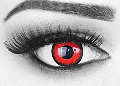 Meralens 1 Paar farbige rote schwarze Crazy Fun red lunatic Jahres Kontaktlinsen.Topqualität zu Fasching und Karneval mit gratis Kontaktlinsenbehälter ohne Stärke!