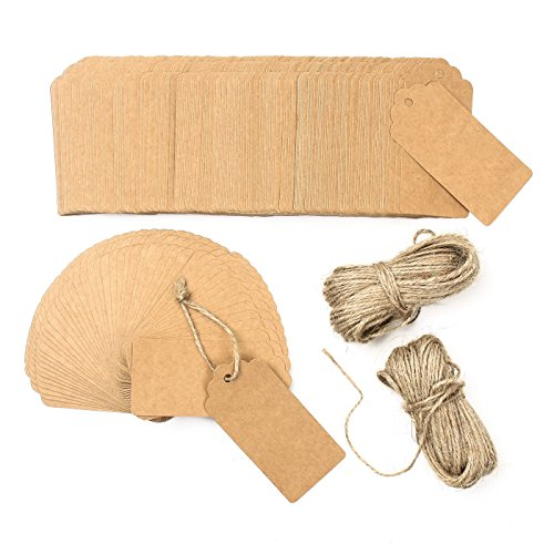 "200PCS Kraft Paper Tags with 160 Feet Jute Twine, 3.8""×1.8"" Gift Tags"