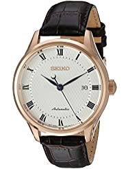 Seiko Mens Classic Dress Japanese Automatic Stainless Steel and Leather Casual Watch, Color:Brown (Model: SRP772)